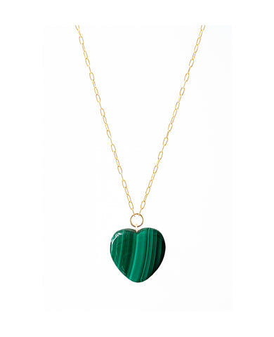 Malachite Heart Pendant on Gold Chain