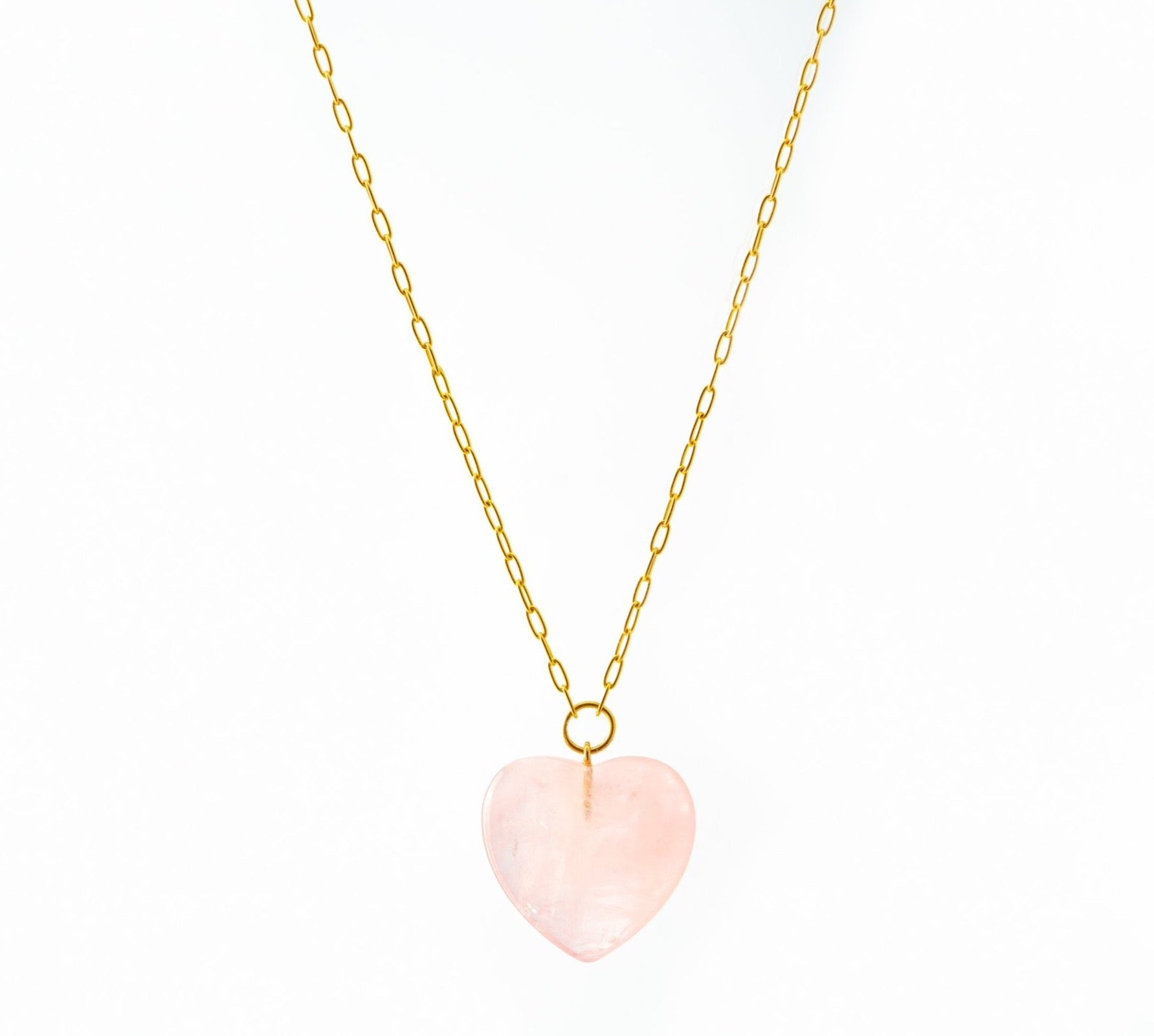 Rose Quartz Heart Pendant on Gold Chain