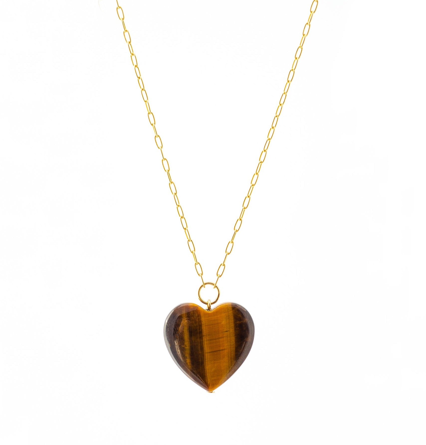 Tiger's Eye Heart Pendant on Gold Chain