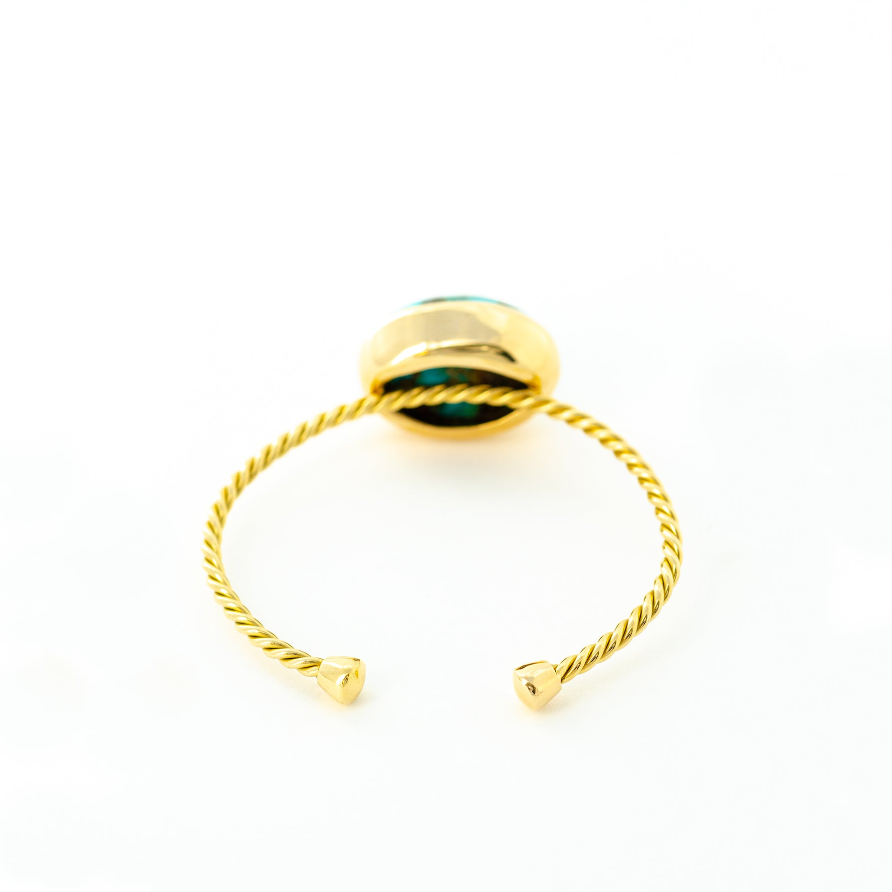 Single Gold Twisted Cuff & Turquoise