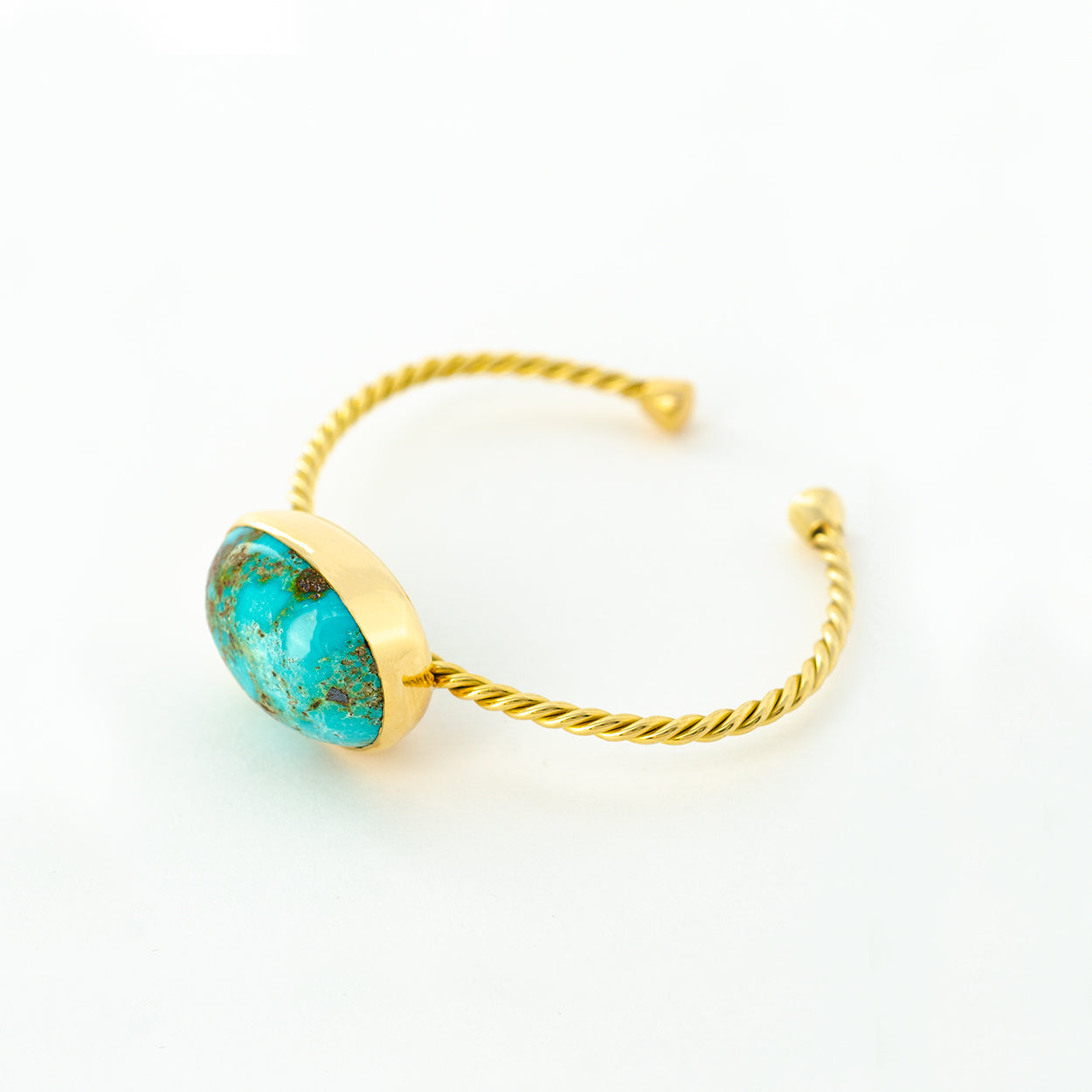 Turquoise Single Gold Twisted Cuff