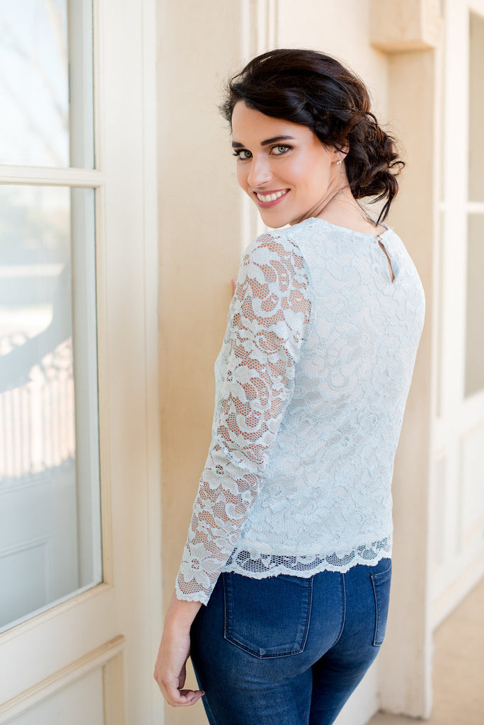 Scallop Long Sleeve Lace Top - Blue