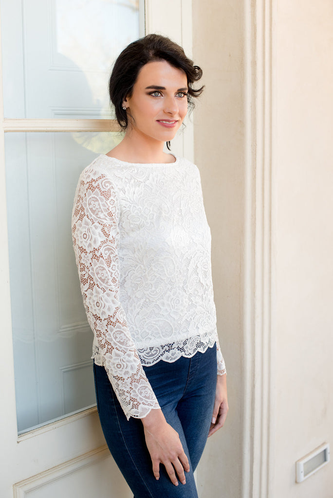 Scallop Long Sleeve Lace Top - Milk