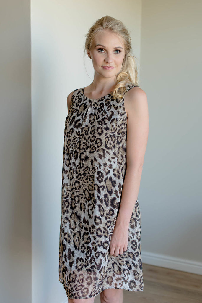 Chiffon Shift Dress - Leopard Print