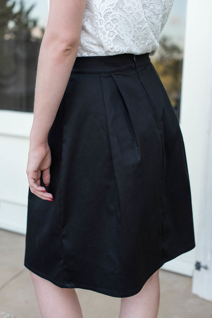 Pleated A-Line Skirt - Black