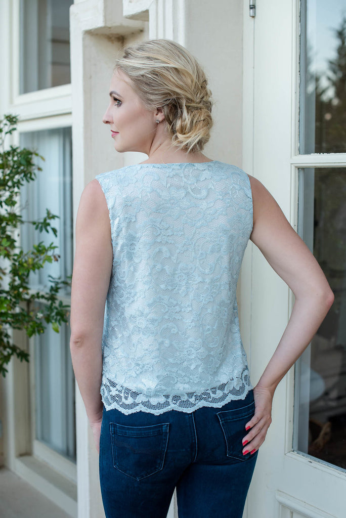 Scallop Lace Camisole Top - Blue