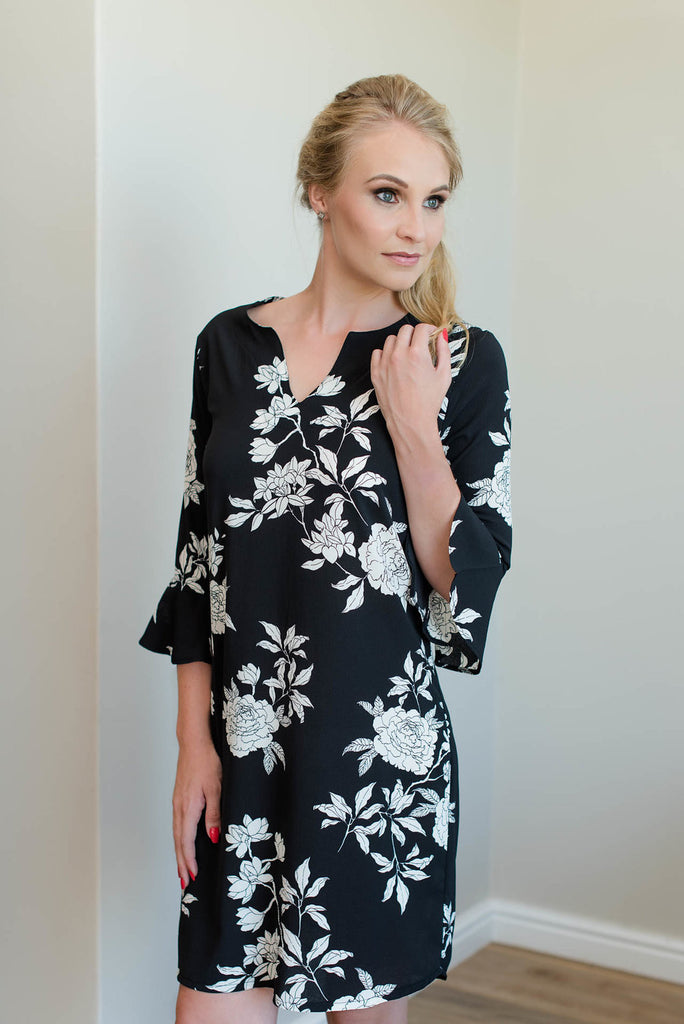 Tunic Dress - Black Floral
