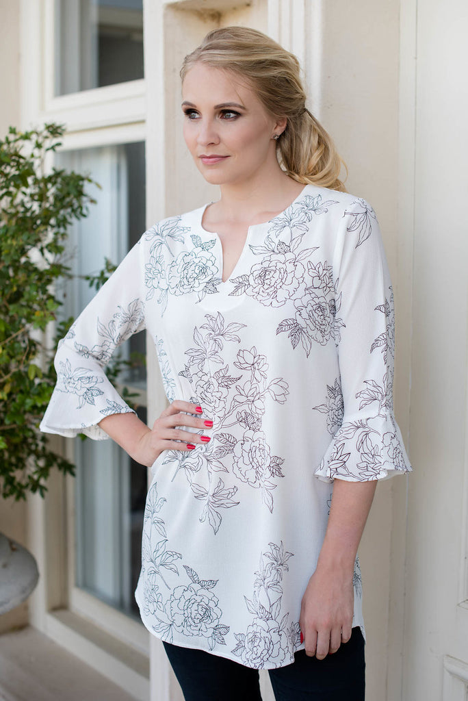 Floral Tunic Top - White