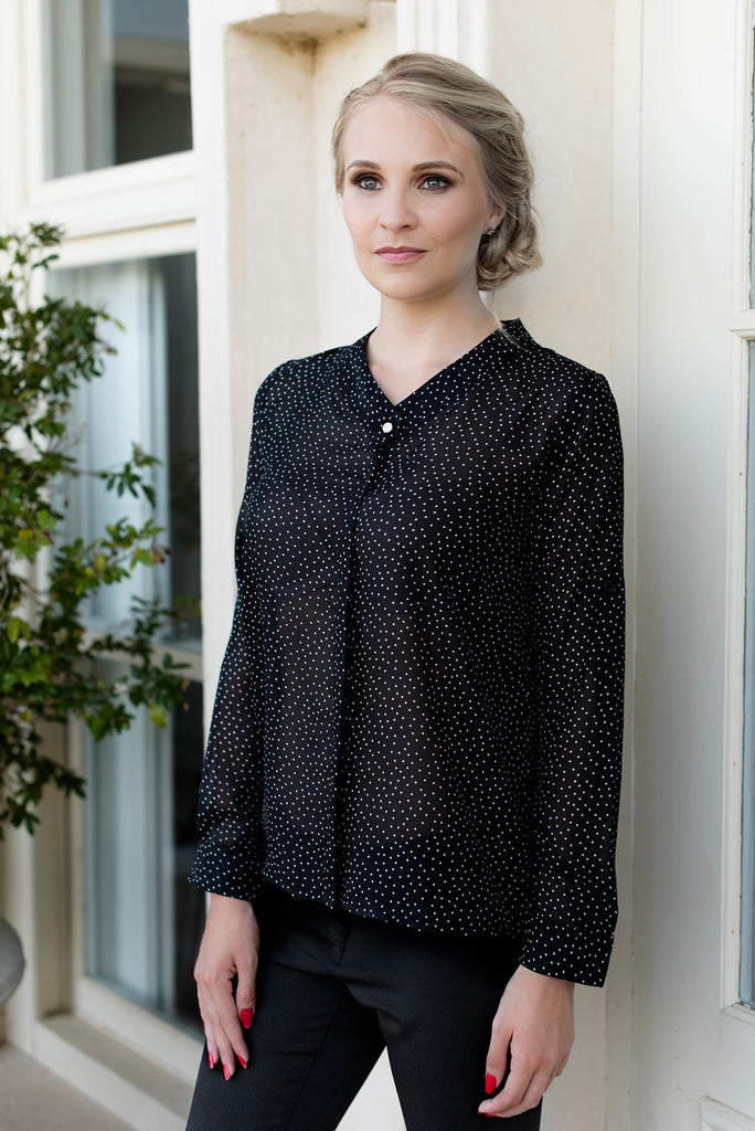 Band Collar Shirt - Polkadot
