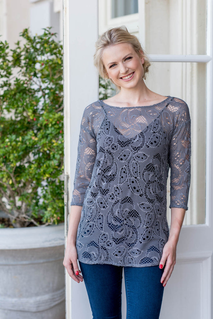 Lace Three Quarter Sleeve Top - Grey