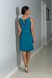 Pleated Neckline Dress - Teal