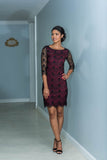 Fitted Black & Maroon Eyelash Lace Dress