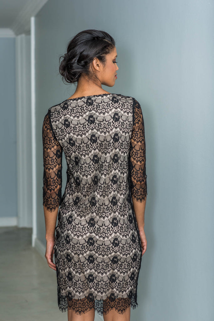 Fitted Black & Beige Eyelash Lace Dress
