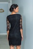Fitted Black Eyelash Lace Dress