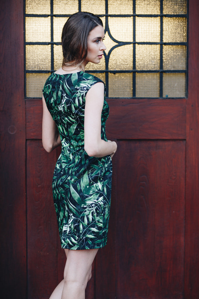 Leaf Print Pencil Dress - Black