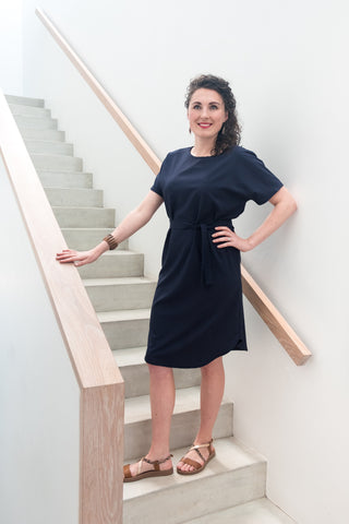 Summer Shirt Dress - Navy Linen Look