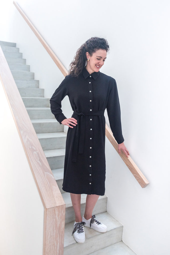 Winter Midi Shirt Dress - Black