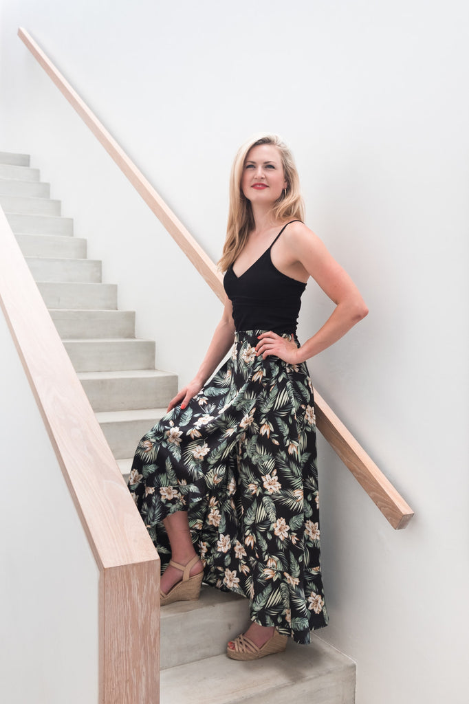 Butterfly Wrap Skirt in Black Leaf Print