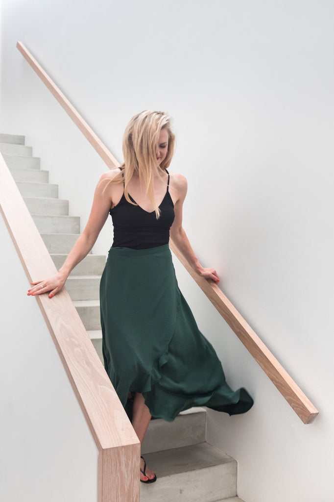 Butterfly Wrap Skirt in Green