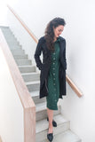 Winter Midi Shirt Dress - Green
