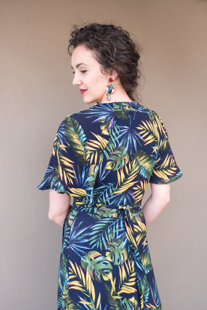 Butterfly Wrap - Navy Leaf Print