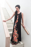 Pleated Neckline Maxi Dress - Floral Garland