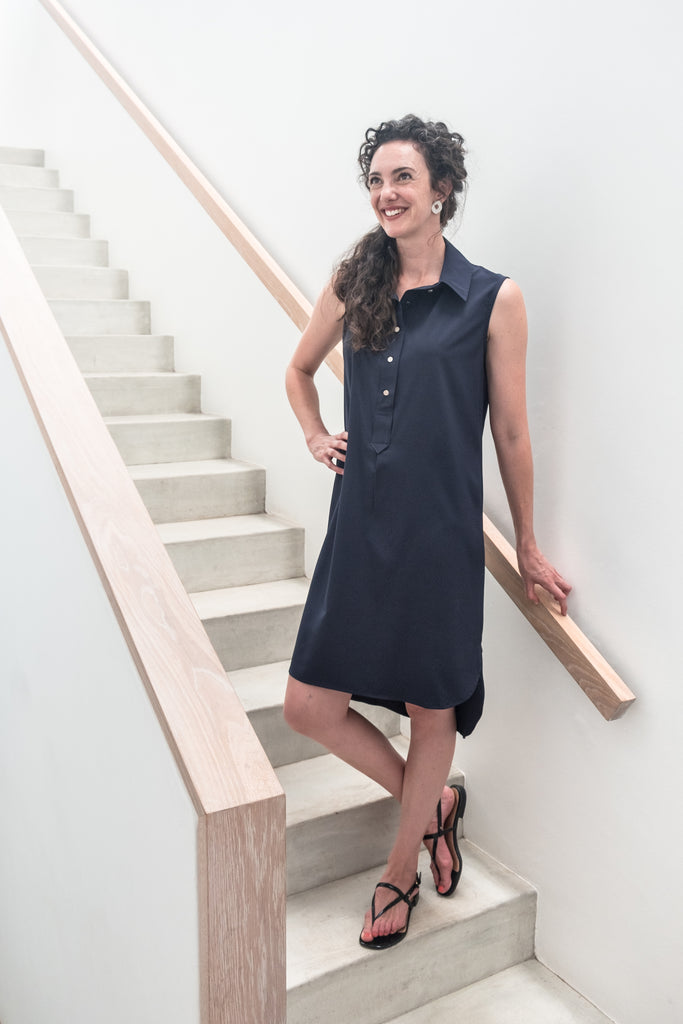 Summer Shirt Dress - Navy