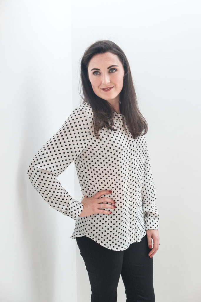 Band Collar Shirt (Midi)- White Polkadot