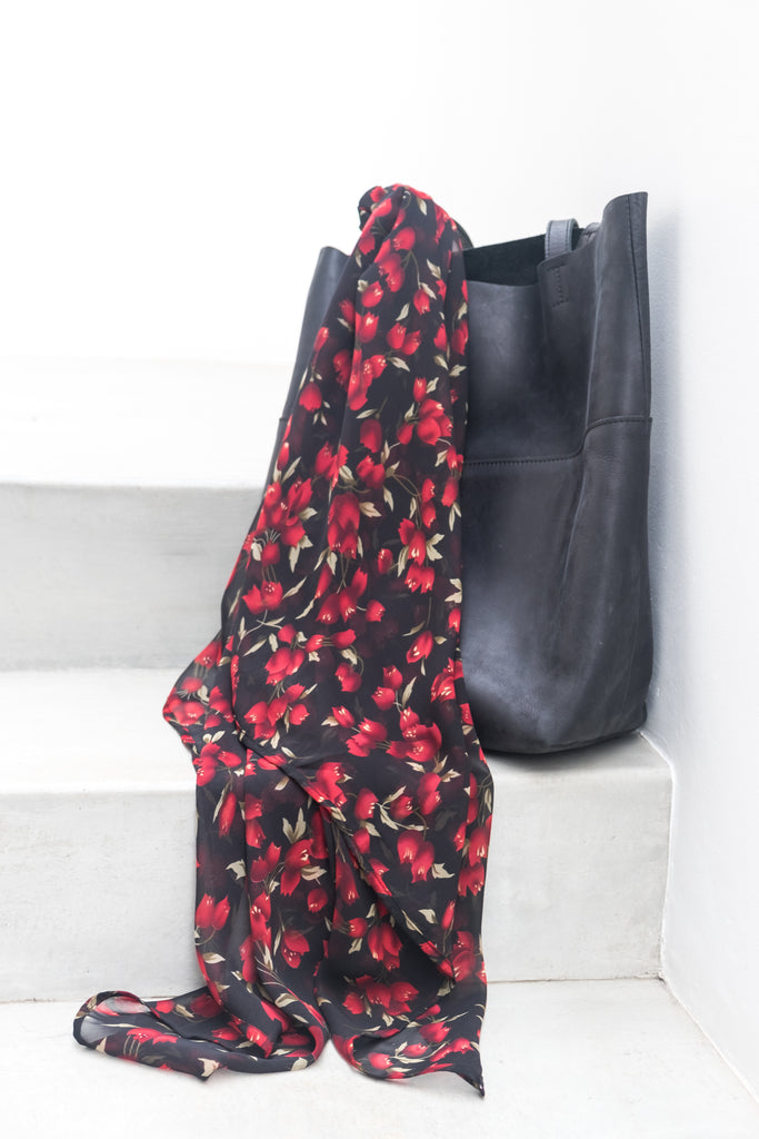 Scarf - Black with Red Floral Print