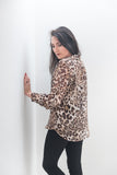 Band Collar Shirt (Midi)- Leopard Print
