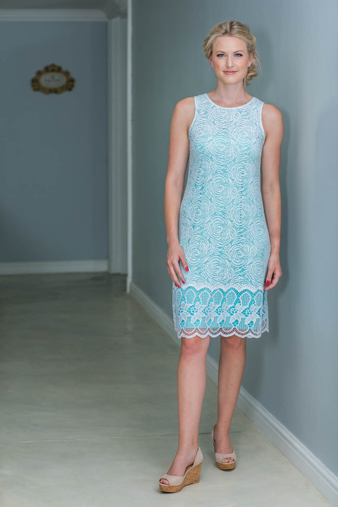 Lace Shift Dress - White & Mint