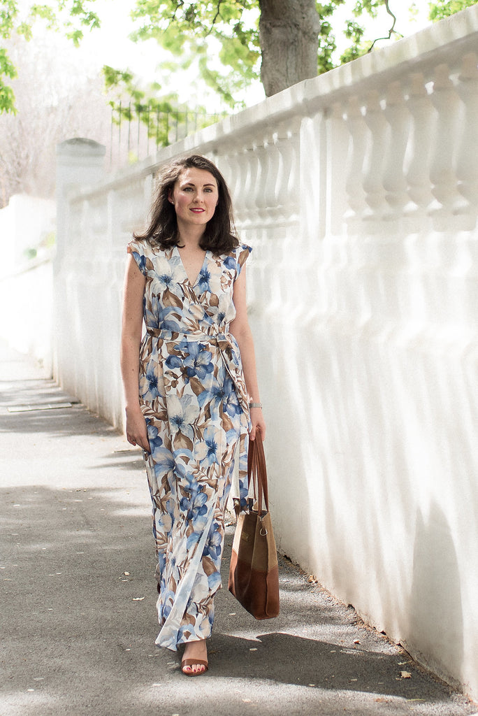 Wrap Maxi Dress - Blue Floral