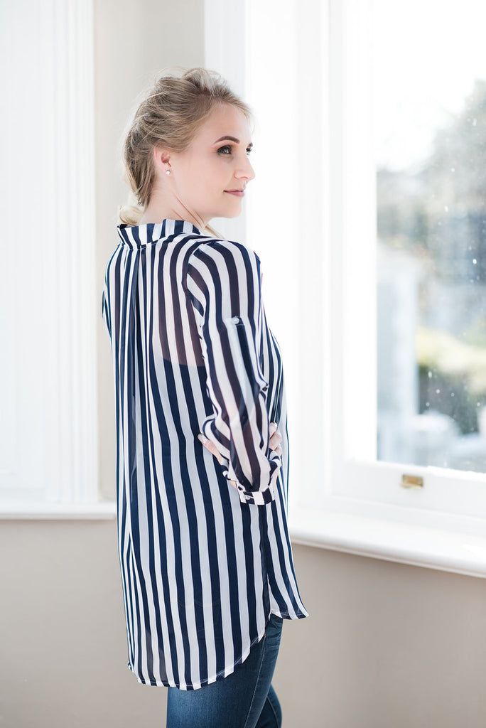 Band Collar Long Shirt - Navy & White Stripes