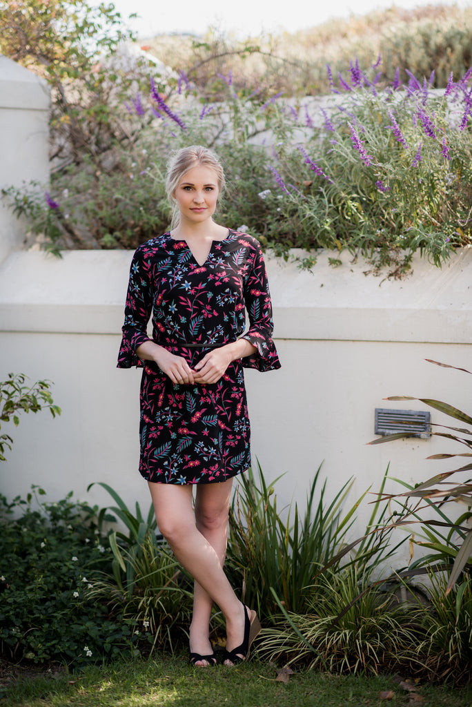 Bell Sleeve Tunic Dress - Black Floral