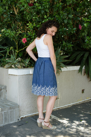 Embroidered Denim Skirt - Light Denim