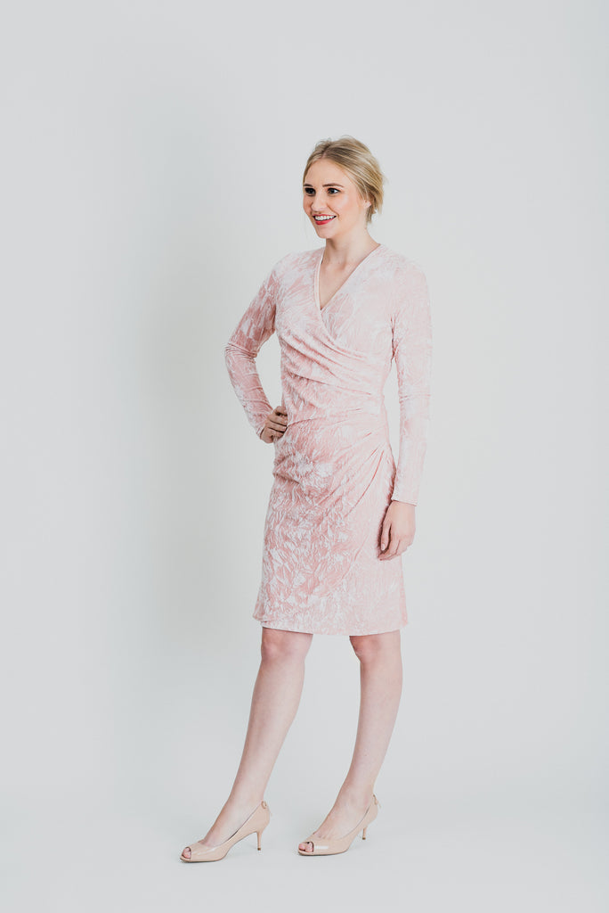 Velvet Wrap Dress - Crushed Pink