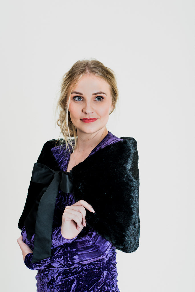 Faux Fur Bolero - Black