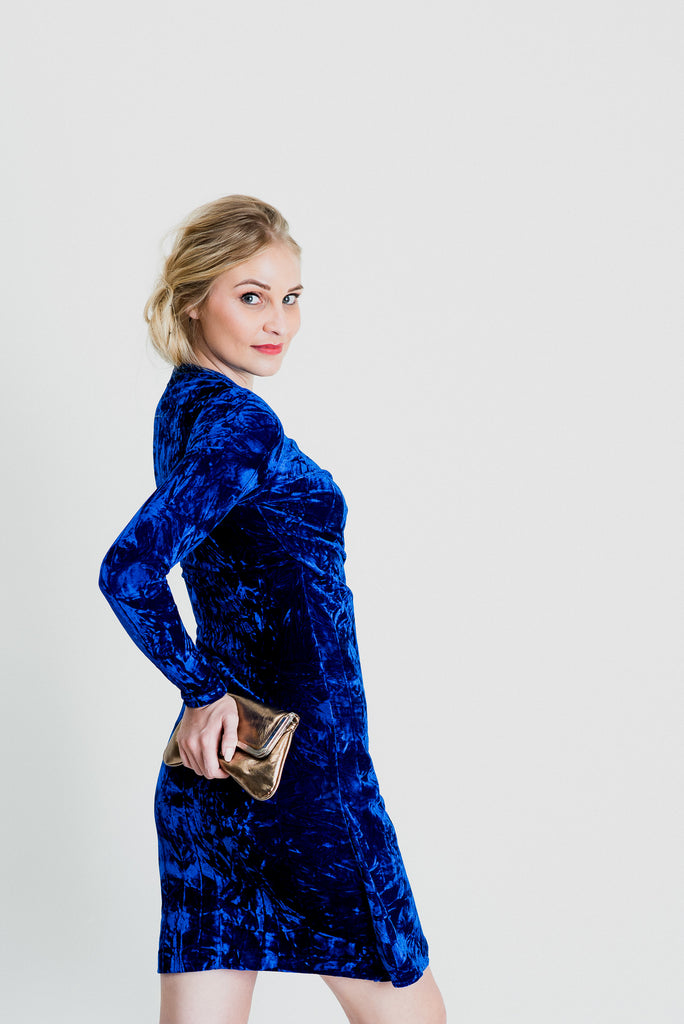 Velvet Wrap Dress - Crushed Royal Blue