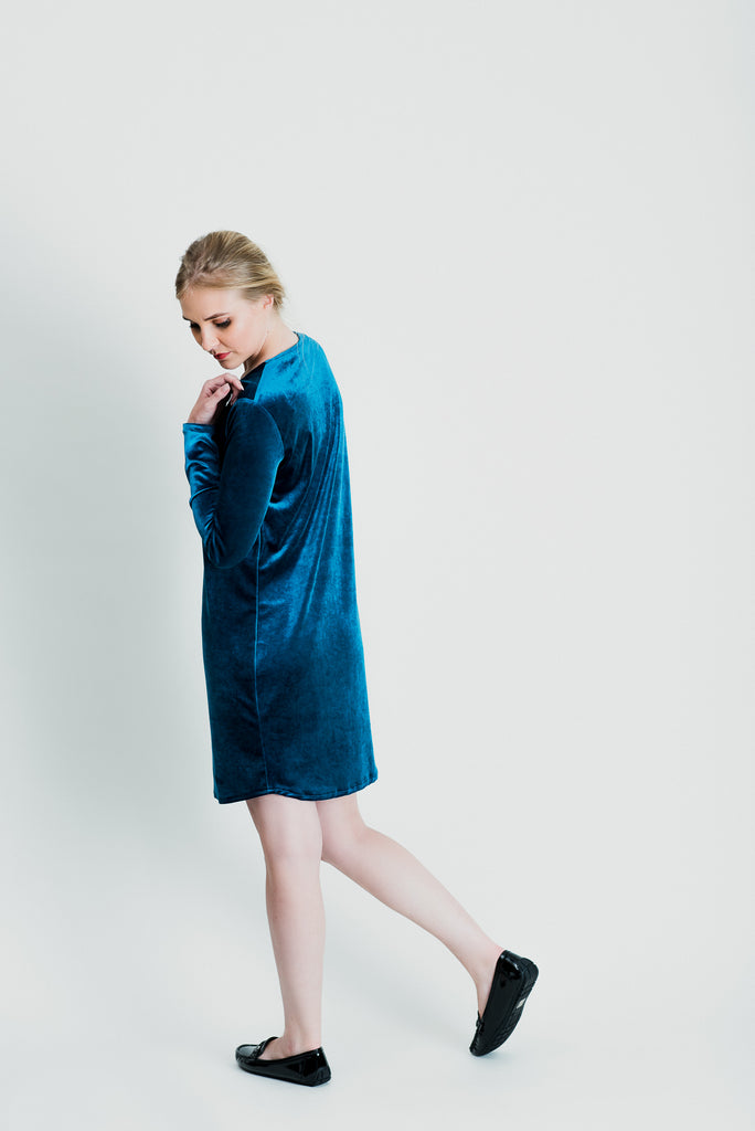 Slip On Velvet Dress - Teal