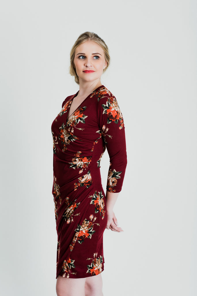 Floral Wrap Dress - Burgundy Print
