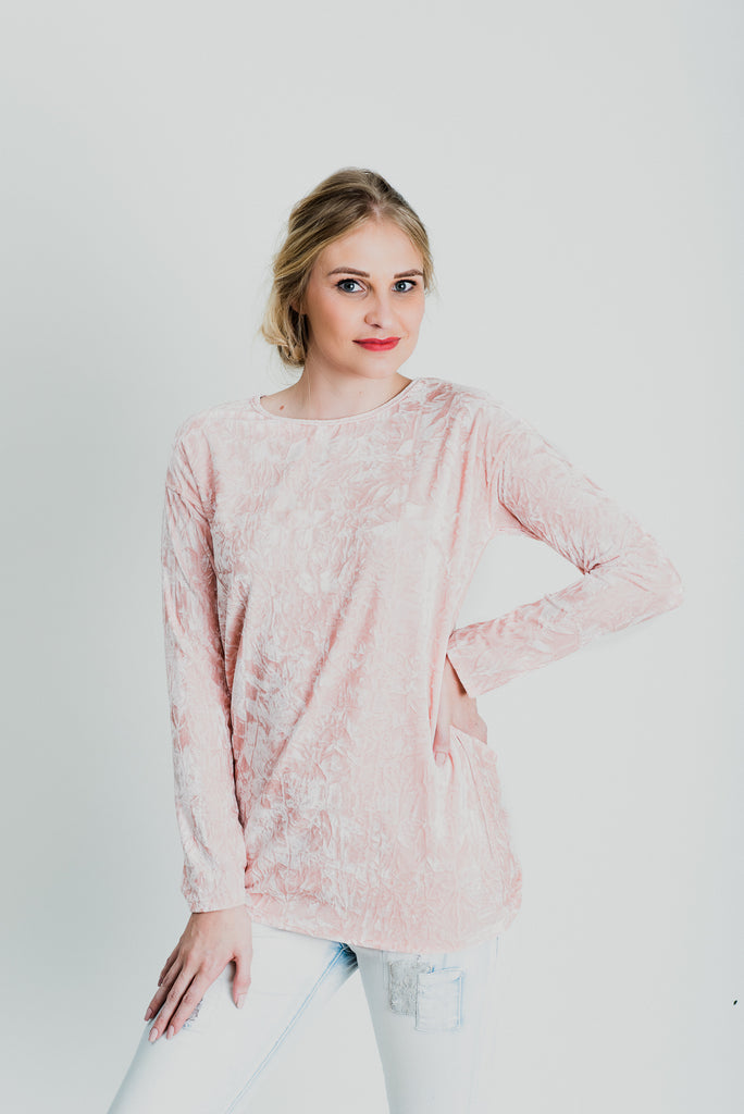 Long Sleeve Velvet Top - Crushed Pink