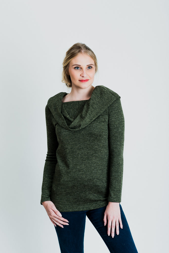 Rolled Boat Neck Jersey Top - Olive