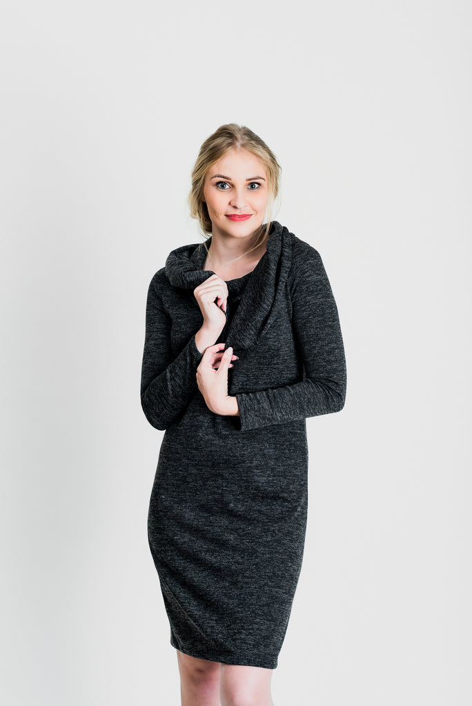Rolled Boat Neck Jersey Dress - Charcoal