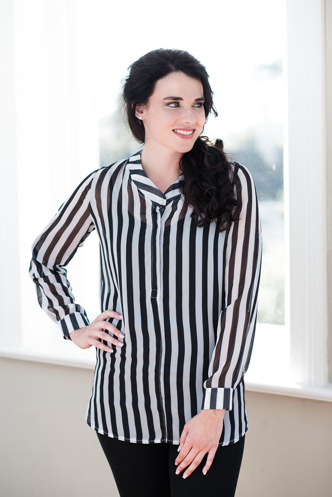 Band Collar Long Shirt - Black & White Stripes