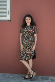 Two Tone Dress - Black Floral