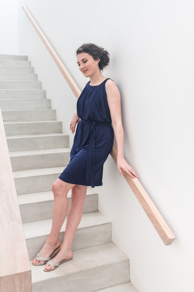 Pleated Neckline Dress - Navy
