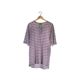 Calculated Split Tee-Blue Red Stripe