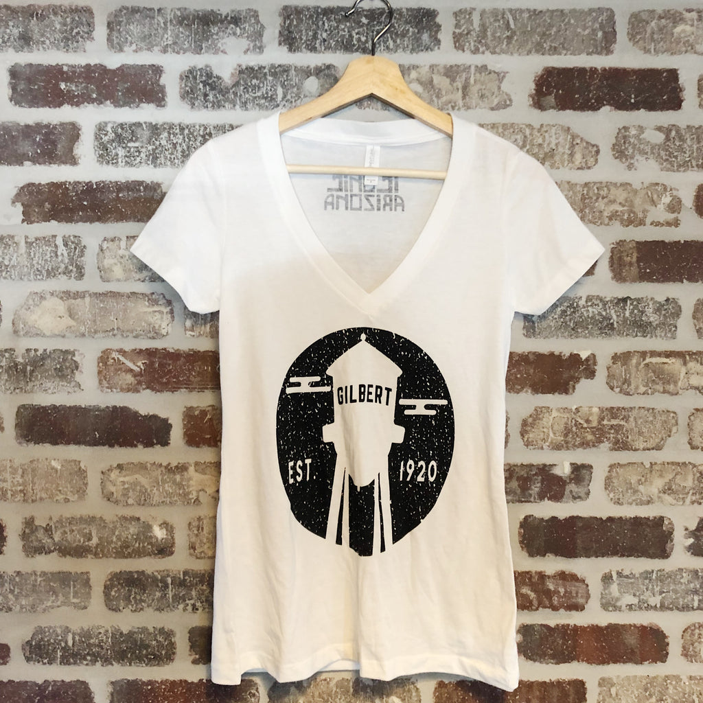 Iconic AZ Gilbert Water Tower White V-Neck