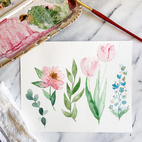 Intro to Floral Watercolors - At Home Workshop