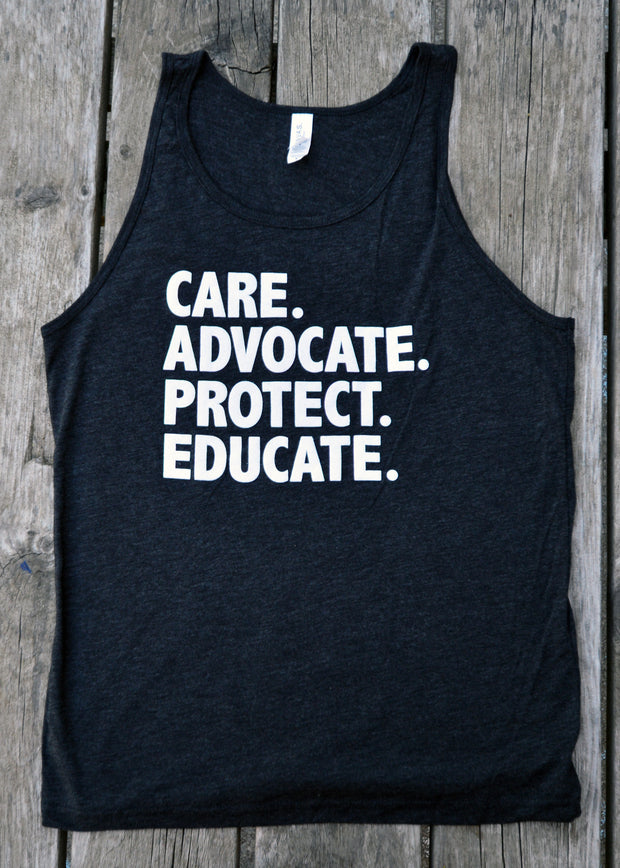 "Men's ""Care. Advocate. Protect. Educate"" Tank Top"